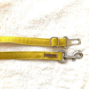 seat belt for pets color mustard handmade, hard and safe, second picture bark in green design for pets